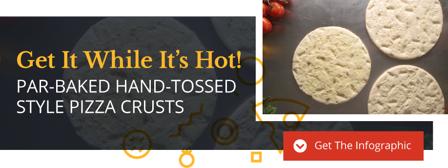Get it while it's hot. Par-baked hand-tossed style pizza crustrs